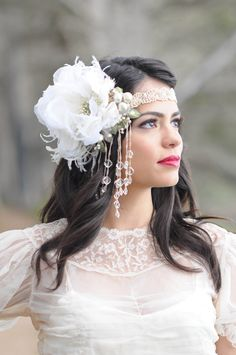 I would wear this every day! I love the beautiful detailing and hints of green. Perfection!    Alana Headdress by Kat Swank- Luxe Headband in Ivory and Pearl. Vintage materials. Alphonse Mucha Style..