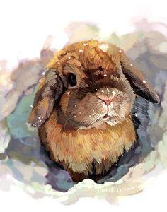 Animal illustration by Xue Wawa Art And Illustration, Rabbit Illustration, Painting & Drawing, Watercolor Paintings, Bunny Painting, Watercolors, Painting Styles, Watercolor Projects, Watercolor Artists