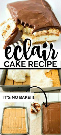 eclair cake no bake easy desserts * eclair cake . eclair cake no bake . eclair cake no bake graham crackers . eclair cake with chocolate ganache . eclair cake no bake easy desserts Easy Potluck Recipes, Quick Dessert Recipes, Easy Cake Recipes, No Bake Desserts, Easy Desserts, Baking Recipes, Delicious Desserts, Easy To Make Deserts, Desserts For Potluck