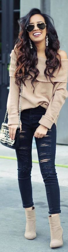 #fall #outfits shoulderless beige sweater ripped black pants'