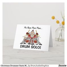 "This drumming Christmas Card features drummer Santa on a massive drum kit. Caption reads ""Pa Rum Pum Pum Pum... DRUM SOLO!"" What a great holiday card for musicians! #drummerchristmas #snaredrum #drumsticks #drumjunkie"
