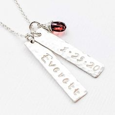 The hammered Vertical Bar Tag Necklace captures Baby's Name and birthdate beautifully with a wire wrapped birthstone. Dainty and subtle, and the perfect gift idea for a New Mom, Mother's Day or Just Because. One of our top sellers, any Mom would surely treasure this custom personalized keepsake necklace. Full Hand Mehndi Designs, Vertical Bar, Family Necklace, Birthstone Necklace, Personalized Jewelry, Baby Names, Pink And Gold, Birthstones, Mom