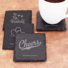 Personalized Square Slate Coasters - Famous Favors. #partyfavors #weddingfavors #bridalshowerfavors #coasters #barware #slate #personalized Slate Stone, The Slate, Bridal Shower Favors, Party Favors, Slate Coasters, Personalized Wedding Favors, Big Day, Special Day, Cleaning Wipes