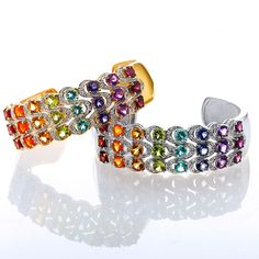 $99.99 - 10.20ctw Exotic Rainbow Hinged Cuff Bracelet please get more of these I regret not getting this!