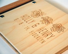 wedding guest book album custom wood engagement anniversary gift modern rustic engrave // petite succulents on Etsy, $42.90