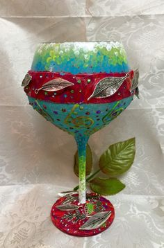 Glitter and polymer clay fall nature wine glassfall by Megthemama