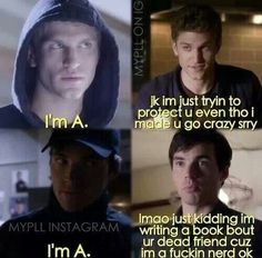 PLL is killing me. PLL is killing me. Pll Quotes, Pll Memes, Funny Memes, Movie Quotes, Freelee The Banana Girl, Pll Logic, Pretty Little Liars Meme, Stupid People, Just Kidding