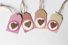 Etichetta, cartellino bomboniera Gift and favor hang tag pink heart di PickaPack su Etsy