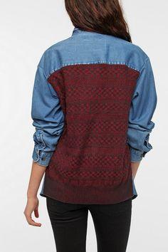 Urban Renewal In The Mix Denim Shirt  #UrbanOutfitters