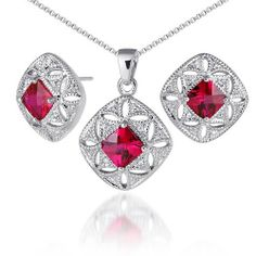 Elegant Princess Checkerboard Cut Created Ruby Pendant Earrings Set in Sterling Silver Rhodium Finish . $49.99. Save 31% Off!