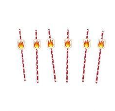 8stk Kule «Brennende» sugerør!! Perfekt til Brannmann Sam bursdagen!