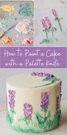 This easy tutorial shows you how to hand paint beautiful floral art onto a cake using buttercream frosting palette knives and paint brushes! This simple cake decorating technique is perfect for your next birthday party or wedding bridal or baby shower! Cake Decorating Videos, Cake Decorating Techniques, Cookie Decorating, Simple Cake Decorating, Decorating Ideas, Cake Painting Tutorial, Cake Tutorial, Frosting Recipes, Buttercream Frosting