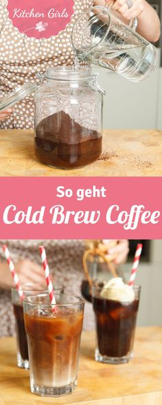 Make cold brew coffee yourself - Brunch & Frühstück - coffee Recipes Tea Recipes, Coffee Recipes, Brunch Recipes, Smoothie Recipes, Brunch Food, Healthy Starbucks Drinks, Making Cold Brew Coffee, Cold Brewed Coffee, Ginger Smoothie
