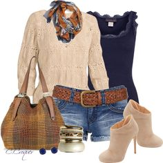 Casual Shorts Outfit For Fall, created by ccroquer on Polyvore