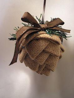 Medium Fabric Pinecone Ornament, Burlap Ornament, Brown Ornament, Country Decor…