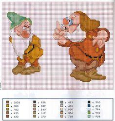 Snow White (Bashful and Doc) cross stitch Disney Cross Stitch Patterns, Cross Stitch For Kids, Cross Stitch Boards, Just Cross Stitch, Beaded Cross Stitch, Cross Stitch Baby, Cross Stitch Designs, Cross Stitch Embroidery, Patchwork Disney