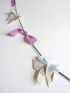Whimsical fairy Garland Origami Butterfly and by leptitpapillon, $25.00