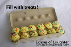 Mini cupcakes or muffins... blog also shows how to wrap the egg carton to make it into a very nice gift.