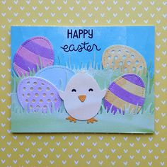 "An Easter card created with the ""Happy Hatchling"" die set from ""Lawn Fawn""."