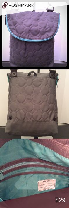 """THIRTY ONE VARY CROSSBODY BAG 19"""" X 13"""" X 4"""" GREY AND TURQUOISE CROSSBODY SNAP CLOSURE BAG. HAS A ZIP ON TOP THAT OPENS UP ALL THE WAY ROUND AND GOES THE LENGHT OF THE BAG. SNAP CLOSURE HAS A POCKET ON FRONT AND A HANG TAG ON BACK. INSIDE HAS ONE LARGE ZIPPER POCKET AND TWO OPEN POCKETS ON ONE SIDE. 51"""" ADJUSTABLE AND REMOVABLE STRAP. GOOD CONDITION. thirty one Bags Crossbody Bags"""