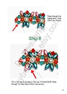 Tutorial - Rinna Bracelet   You will receive the PDF file, step by step instruction how to make the bracelet. This pattern is for intermediate beader with basic knowledge of beadweaving. But if youre a beginner and would like to try it, Im always happy to assist you if you have any difficulty with the pattern.  The width of the bracelet is 1 inch.  Materials - Swarovski Pearl 4mm. - Swarovski Bicone 3mm. (Two colors) - Superduo 2.5 x 5mm. (Two colors) - 11/0 Miyuki Rocailles seed beads -...