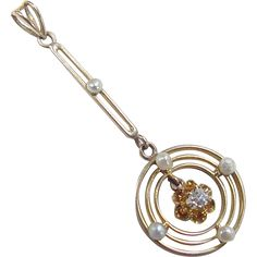 Victorian Diamond and Seed Pearl Lavaliere Pendant 14k Gold