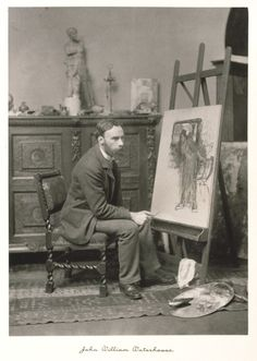 John Wm. Waterhouse at his easel