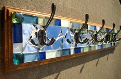 5 hook mosaic coat rack 6 x 36 by JustLookAtYourself on Etsy Coat Racks, Mosaic Ideas, Drawer Fronts, Stained Glass, Projects To Try, Pretty, Diy, Hangers, Coat Hooks