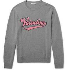 Valentino - Slim-Fit Intarsia Mélange Virgin Wool and Cashmere-Blend Sweater
