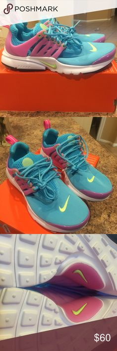 Nike Presto! Womens size 7.5 or kids 6Y! Cute! This is a brand new pair of Nike Presto shoes. The size is 6Y or womens 7.5 the color is an adorable pink and blue. No box! Please feel free to ask questions or send more pics  Nike Shoes Athletic Shoes