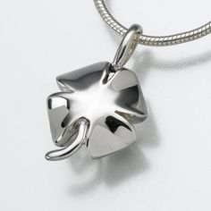 4 Leaf Clover Pendant Cremation Jewelry in Sterling Silver