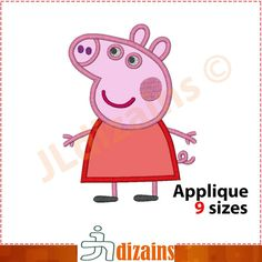 PEPPA Pig applique design. Machine embroidery design  by JLdizains