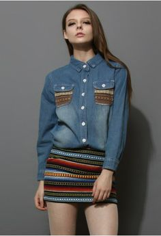 Classic Denim Shirt with Embroidery Pockets