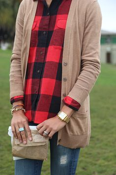 Camel paired with red buffalo check plaid is a classic fall combo that can be dressed up or down.