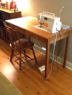 Sewing Machine Table Sewing Machine Table Claudi A DIY &; for the Home diy sewing machine table. LOVE this idea&;uh oh&;m […] room ideas big Sewing Desk, Diy Sewing Table, Sewing Machine Tables, Sewing Cabinet, Sewing Spaces, Sewing Rooms, Diy Table, Sewing Machines, Craft Tables