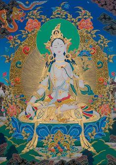 Tibetan Buddhist Thangka of White Tara (long-life goddess) Buddha Kunst, Buddha Art, Buddha Buddhism, Tibetan Buddhism, Vajrayana Buddhism, Thangka Painting, Tibetan Art, Hindu Art, Sacred Art