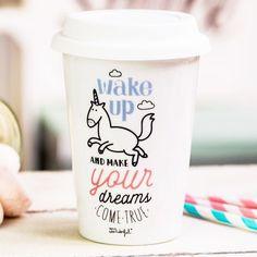 Mug Take Away Licorne Wake Up - Wake Up and make your dream come true, avec notre licorne adorée. Plus