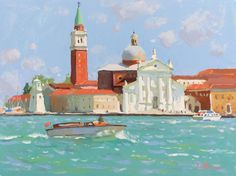 """Lena Rivo•Gouache•Oil•Acrylic on Instagram: """"Day 10 of Plein Airpril painting challenge. Venice, Italy. Gouache on board. 6x8 in. • If you have questions about my color palette or…"""" Gouache, My Images, Taj Mahal, Original Paintings, Art Pieces, Palette, Challenges, In This Moment, Colours"""