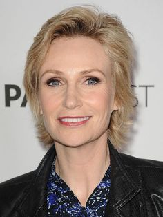 Jane Lynch  A little height at the hairline and piece-y texture throughout keeps fine hair from looking drab.