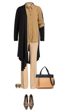 Office outfit: Black - Camel - Animal Print by downtownblues on Polyvore