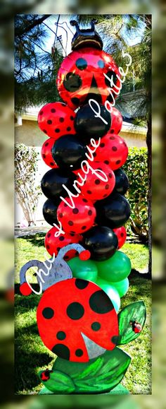 Ladybug Balloon Tower by Chic & Unique Parties