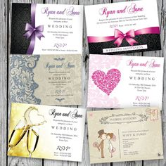 100 Personalised Wedding Day and Evening Invitations with Envelopes #yourinvites