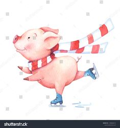 Watercolor pig in a christmas scarf on skates. On white background. – My Crafter Pinging Illustration Noel, Christmas Illustration, Watercolor Illustration, Illustrations, Watercolor Christmas Cards, Christmas Drawing, Watercolor Cards, Christmas Scarf, Funny Pigs