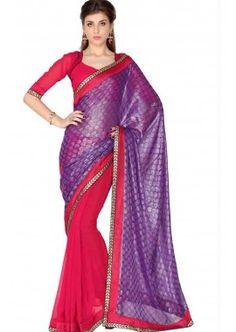 rouge georgette saree, - 39,00 €, #SariPasCher #SariMariage #SariIndien #Shopkund