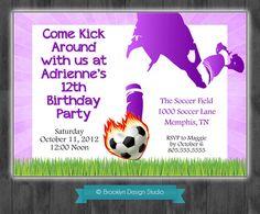 Soccer Birthday Party Custom Invitation