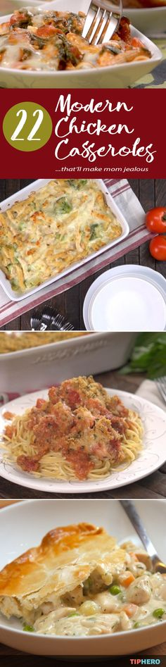 No idea what to make for dinner? This collection of modern chicken casseroles will make you meal planning - and meal making - a breeze. Casseroles are easy one-dish meals that are key to getting through the week and this collection of recipes are anything but boring! Click and try something new like a baked parmesan chicken casserole or a salsa chicken casserole or a chicken cordon bleu casserole or a chicken tetrazzini casserole.... yum! #familydinner #easymeals