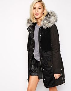 River Island Parka With Faux Fur Body