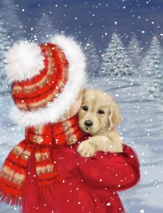 Christmas Scenes, Christmas Animals, Christmas Art, Vintage Christmas, Whimsical Christmas, Illustration Noel, Illustrations, Canvas Artwork, Canvas Art Prints