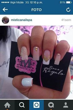 New nails white design manicures ideas Glam Nails, Beauty Nails, White Nails, Pink Nails, Hair And Nails, My Nails, Pink Nail Designs, Nails Design, Square Nail Designs