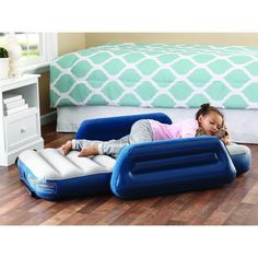 3f4d3962569 Kids Inflatable Air Mattress Camping Airbed Side Bed Rail Armrest w  Travel  Bag  OzarkTrail